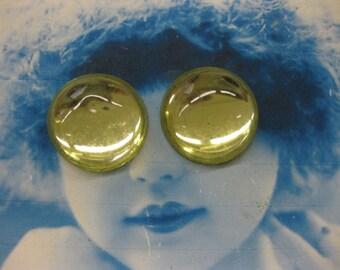 Vintage Glass Foil Back Yellow 18mm Cabochons 540VIN x2