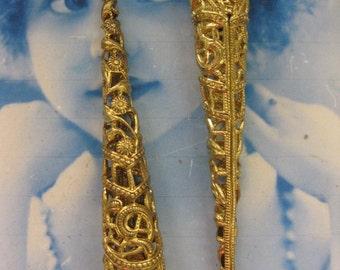 Natural Raw Brass Long Cone shape Filigree Bead Cap 1150D RAW  x2