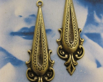 Brass Ox Plated Neo Classical Drop Dangles 2174BOX  x2