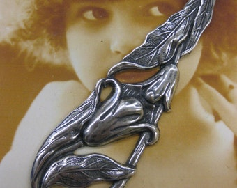 Silver Ox Plated Art Nouveau Style Floral Oblong Stamping 2243SOX  x1
