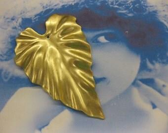 Large Natural Raw Brass Leaf Pendant 814RAW  x1