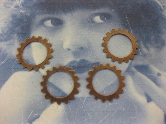 16mm Copper Ox Plated Brass Sprocket Gears 591aCOP x4