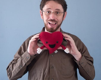 Small Plush Valentine's Happy Heart - Red