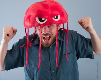 Jellyfish Hat Plush Fleece - Red Tie Dye