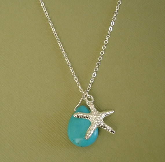 turquoise teardrop and starfish necklace 18k white gold