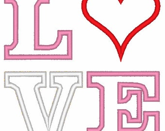 LOVE - Valentine's Day Machine Embroidery Appliqué Design
