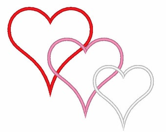 Triple Heart Applique Valentine's Day Machine Embroidery Design