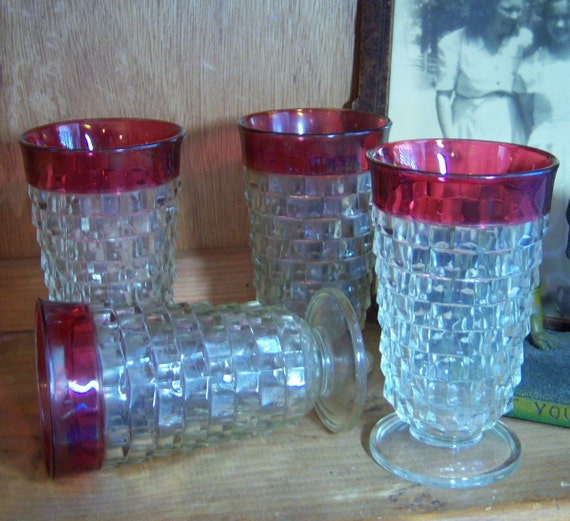 Vintage American Ruby Flashed Tumblers Footed Iced Tea