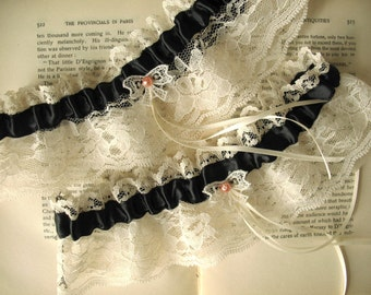 Ma Cherie | Bridal Garter Set, Black Satin with Ivory Lace, Vintage Bow and Pearl, Handmade Wedding - Ready to Ship