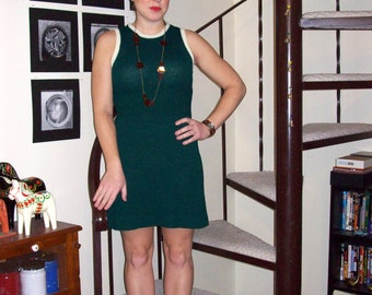 Vintage hunter green knit dress and cardigan - small