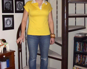 Vintage yellow polo with embroidery - small/medium