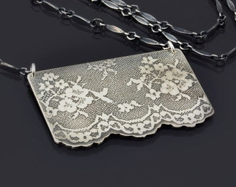 Large Etched Sterling Silver Lace Necklace (No. 6) - Elegant Silver Jewelry by Lisa Hopkins Design - MADE TO ORDER