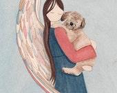 Soft coated wheaten terrier (wheatie) cradled by angel / Lynch signed folk art print