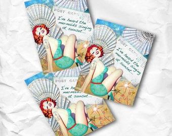 Buy 2 get 1 Free Set of 3 Mermaids Singing PinUp Girl Postcards