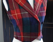 Vintage Plaid Wool Double Breasted Wool Vest