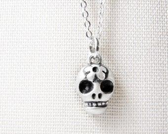 Very tiny skull necklace, Day of the Dead sugar skull necklace, Día de los Muertos jewelry, calaveras, silver skull jewelry
