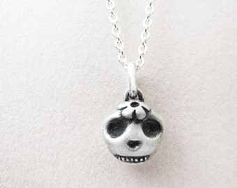 Pet memorial jewelry, Very tiny cat skull necklace, Day of the Dead, cat jewelry, Día de los Muertos sterling silver sugar skull