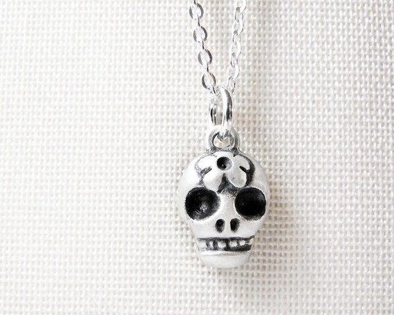 Very tiny skull necklace, Day of the Dead sugar skull necklace, Día de los Muertos jewelry, calaveras, silver skull jewelry