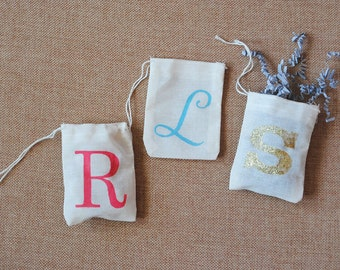 Initial Monogram Muslin Bags - Set of 5