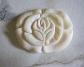 Carved White Bone Rose Pendant