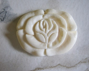 Carved White Bone Rose Pendant