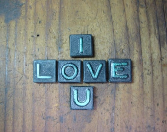 I LOVE U Vintage Wood Anagram Game Pieces, Retro Home Decor, Gifts under 10, Gifts for Her, Valentines Day