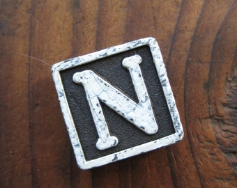 Vintage Wood Anagram Game Piece, Vintage N Initial, Black and White, gifts for him, gifts for her, Gifts under 5