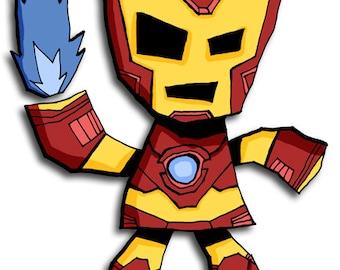 Iron Man Mini Art Print Avengers Illustration Superhero