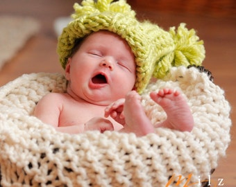 Super Chunky Ribbed Jester Pompom Baby Hat Knitting Pattern PDF Number 106 -- INSTANT DOWNLOAD -- Over 35,000 patterns sold