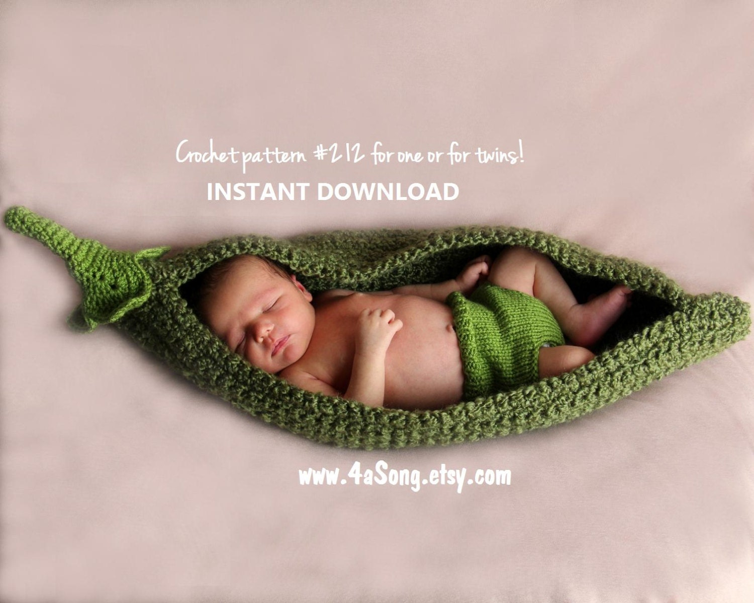 Free Knitting Pattern Baby Cocoon Pod : Pea Pod Photo Prop Crochet Pattern PDF Number 212 INSTANT