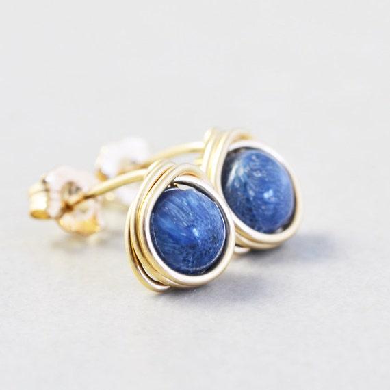 Blue Studs, Blue Coral Post Earrings, Denim Blue Posts, Handmade