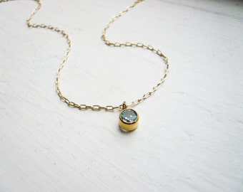Tiny Blue Topaz Necklace in Gold Filled - Dainty Blue Topaz Gemstone and Gold Filled Necklace