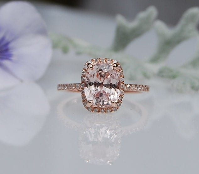 ... peach champagne sapphire in 14k rose gold diamond ring. 🔎zoom