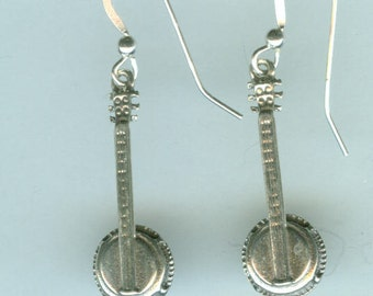 Sterling Silver BANJO  Earrings - 3d - Music, Instrument