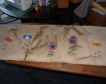 Hand Painted Table Runner Prim Pansies