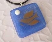Peace Dove Fused Glass Pendant, Bue Glass Pendant, Peace Necklace