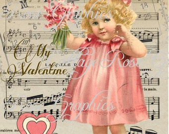 Valentine February 14 series Pink Dress vintage shabby cottage Large digital download buy 3 get one free ECS