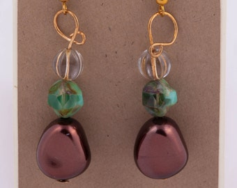Mint chocolate gold accent dangle earrings