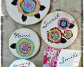 Home is happy big hoop art Pattern pdf - wallhanging applique free motion flowers fabric embroidery sewing pillows