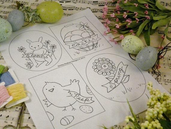 Easter bunny chick banner designs PDF Pattern - primitive stitchery hoop embroidery egg flower basket rabbit