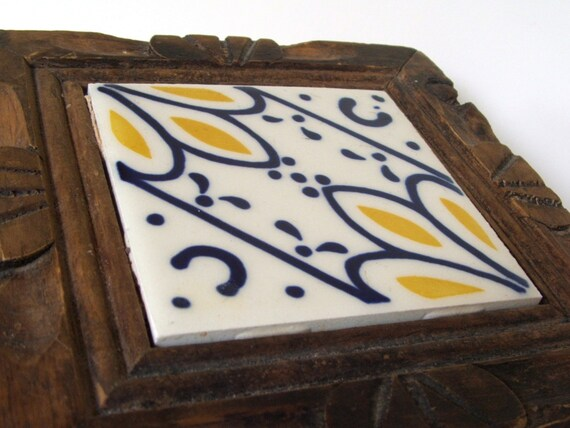 Vintage Wood And Mexican Ceramic Tile Trivet With Yellow And