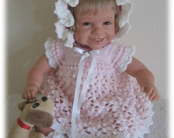 Crochet Pattern for Baby---Lily Marie Baby Sweater, Bonnet, Booties and Dress