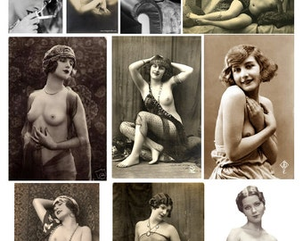 Sexy ladies contains NUDITY vintage images Collage Sheet