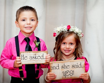 HE ASKED...and she said YES set of 2, Save the date, Photo props, Announcement, Engagement, Wedding Cards, Primitive looking Signs