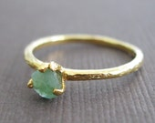 Organic Raw Petite Green Emerald 22k Vermeil Stacking Clutch Ring