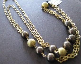 Rich Chocolate Bronze Shell Pearl Vermeil Layered Double Strand Necklace - Sample Sale