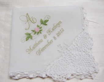Monogrammed and Personalized Embroidered Wedding Handkerchief