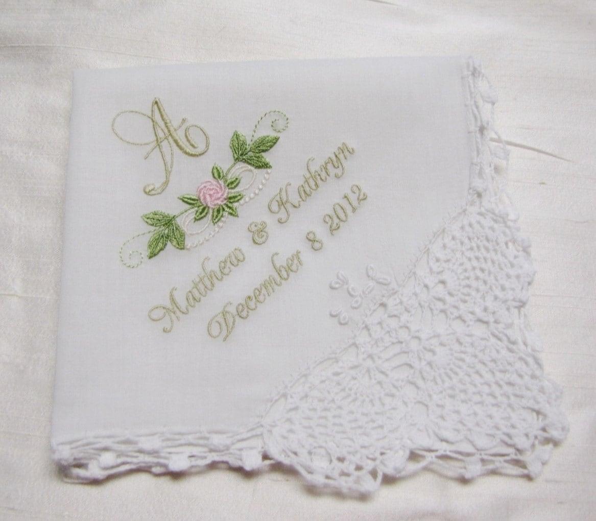 monogrammed wedding handkerchief personalized wedding