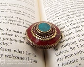 Handmade Brass Artisan Bead, Circle and Rope Disc Pendant Turquoise/Coral Color