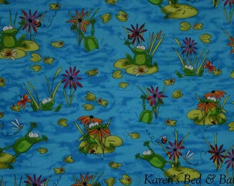 Green Frog Lilypad Bee Dragonfly Ladybug Floral Vibrant Pond 16L Blue Curtain Valance
